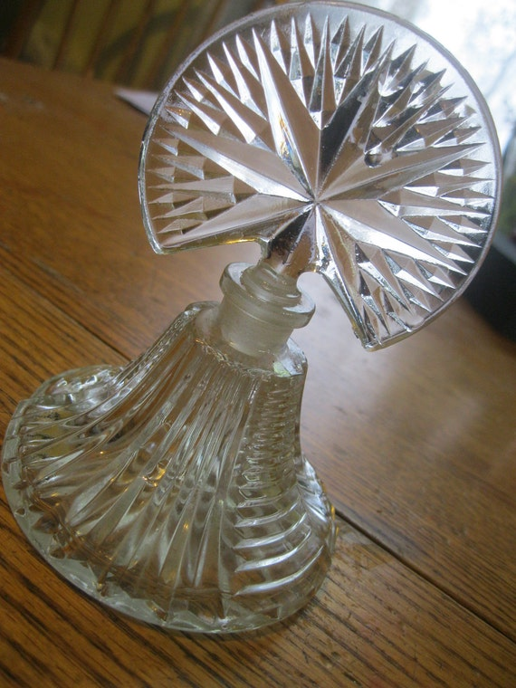 Star Burst Perfume Bottle Clear Glass 1940's
