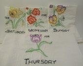 Handstitched Flower Days of the Week Kitchen Towels