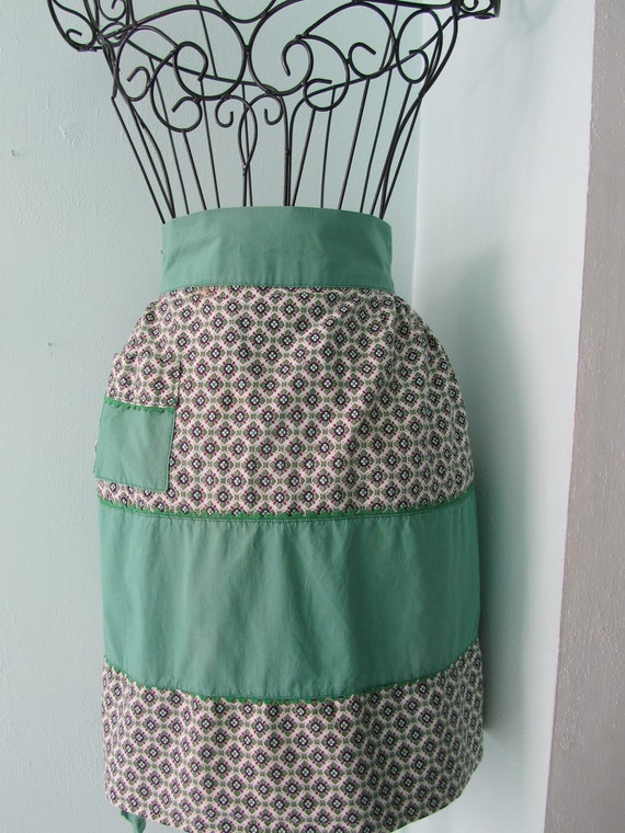 Vintage Geometric Foral Patterned Navy and Pastel Green Apron