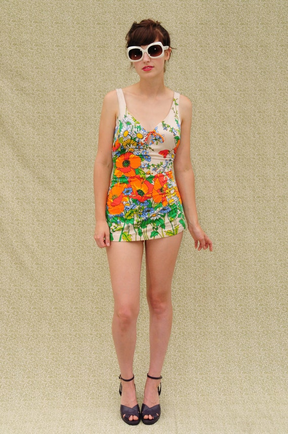 1960 S 1970 S Bathing Suit Orange And Green By