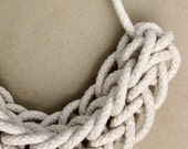 Knitted Rope Necklace - Natural Cotton - Knotted Cord Necklace - Statement Necklace