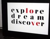 5x7 Romantic Travel poster - Explore Dream Discover, Mark Twain