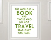 8x10in Travel poster - The World is a Book, St Augustine, Green