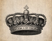 Antique Crown Royalty King Queen Prince Princess Illustration  Digital Download for Papercrafts, Transfer, Pillows, etc Burlap No 1381