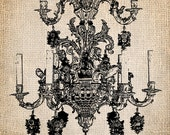 Antique Chandelier French Ornate Illustration Printing  Digital Download for Papercrafts, Transfer, Pillows, etc. Burlap No 1331