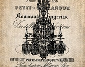 Antique French Chandelier Bling Script Illustration  Digital Download for Papercrafts, Transfer, Pillows, etc No 1237