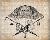 Antique Victorian Umbrellas llustration Digital Download for Papercrafts, Transfer, Pillows, etc. Burlap No 2401