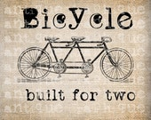 Antique Travel Victorian Bicycle Tandem Illustration Digital Download for Papercrafts, Transfer, Pillows, etc Burlap No 2413