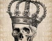 Antique Skeleton Crown Halloween All Hallows Eve Illustration Digital Download for Papercrafts, Transfer, Pillows, etc Burlap No 2577