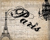 Antique French Paris Eiffel Tower Chandelier Handwriting Fancy Illustration Digital Download for Papercrafts, Transfer, Pillows  No 2695