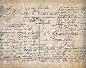 Antique French Postcard Postmark Handwriting Fancy Illustration Digital Download for Papercrafts, Transfer, Pillows  No 2703