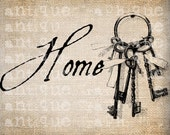 Antique Keys Key Ribbons Ring Skeleton HOME Illustration Digital Download for Papercrafts, Transfer, Pillows, etc Burlap No. 2709