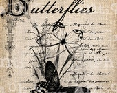 Antique Summer Butterfly French Handwriting Fancy Ornate llustration Digital Download for Papercrafts, Transfer, Pillows Burlap No 2843