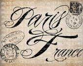 Antique Paris France Fancy Word from Old Postcard Digital Download for Tea Towels, Transfer, Pillows, etc Burlap No 3999