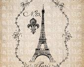 Antique Eiffel Tower Fancy French Paris Illustration Digital Download for Papercrafts, Transfer, Pillows, etc No 5541