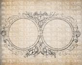 Antique Blank Fancy Ornate Victorian Frame Illustration Digital Download for Tea Towels, Papercrafts, Transfer, Pillows, etc Burlap No 6341