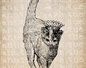 Digital Collage Sheet Download Sheet Fabric Transfer CAT with CROWN for Tea Towels, Papercrafts, Transfer, Pillows, etc Burlap No 6831