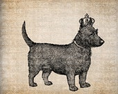 Digital Collage Sheet Download Sheet Fabric Transfer DOG with CROWN for Tea Towels, Papercrafts, Transfer, Pillows, etc Burlap No 6851