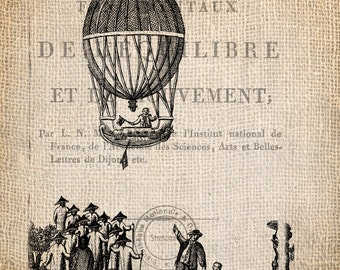 Steampunk Paris Hot Air Balloon Ticket Illustration  Digital Download for Papercrafts, Transfer, Pillows, etc Burlap No. 1687