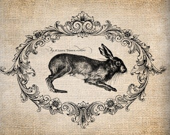 Antique French Rabbit Le Lapin Script Easter Illustration  Digital Download for Papercrafts, Transfer, Pillows, etc No 1351