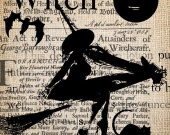 Antique Gothic Witch  Halloween  Salem Trial Illustration Digital Download for Papercrafts, Transfer, Pillows, etc No 1901