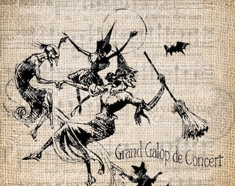Antique Gothic Witch Sheet Music Halloween Anatomy Illustration Digital Download for Papercrafts, Transfer, Pillows Burlap No 2359