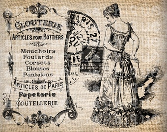 Antique Paris FrenchCorset Label Script Ornate Illustration Digital Download for Papercrafts, Transfer, Pillows, etc Burlap No 2473