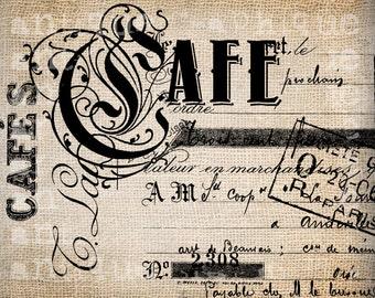 Antique French Coffee Shop Paris CAFE Illustration Digital Download for Papercrafts, Transfer, Pillows, etc Burlap No. 2713