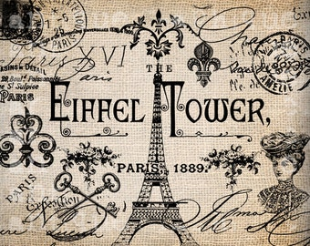 Antique French Paris Eiffel Tower Messy Labels Fancy Illustration Digital Download for Papercrafts, Transfer, Pillows  No 2729