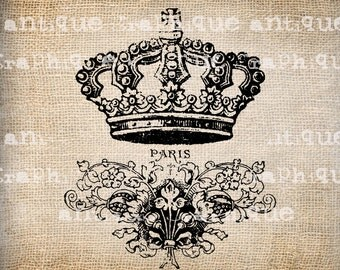 Antique French Paris Vintage Crown Flourish Illustration Digital Download for  Papercrafts, Transfer, Pillows Burlap No 2791