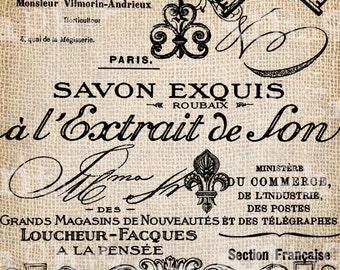 Antique French Labels Handwriting Fleur de Lis Digital Download for Tea Towels, Papercrafts, Transfer, Pillows, etc Burlap No. 2799