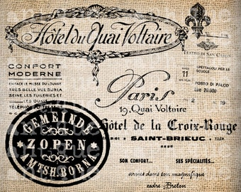 Antique Paris French Hotel Label Logo Fancy Ornate Handwriting Digital Download for Papercrafts, Transfer, Pillows, etc Burlap No 2871