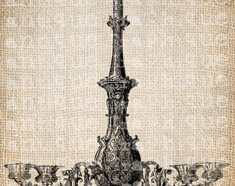Antique French Chandelier Shoppe Fancy Ornate Illustration Digital Download for Papercrafts, Transfer, Pillows, etc Burlap No 3057