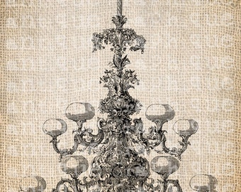 Antique French Chandelier Shoppe Fancy Ornate Illustration Digital Download for Papercrafts, Transfer, Pillows, etc Burlap No 3061