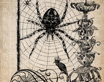 Antique Halloween Party Trick or Treat Bag Spiders Ornate Digital Download for Papercrafts, Transfer, Pillows, etc Burlap No 3105