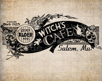 Antique Halloween Party Trick or Treat Witch Cafe Sign Ornate Digital Download for Papercrafts, Transfer, Pillows, etc Burlap No 3121