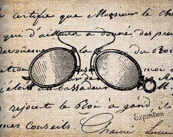 Antique French Paris Glasses Steampunk Ornate Digital Download for Tea Towels, Papercrafts, Transfer, Pillows, etc Burlap No 3187