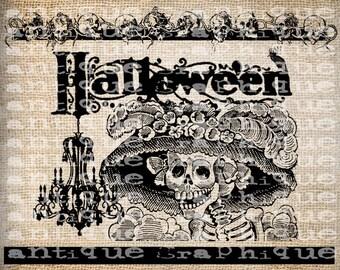 Antique Girl Skeleton Chandelier Skulls Halloween Illustration Digital Download for Papercrafts, Transfer, Pillows, etc Burlap No 3447