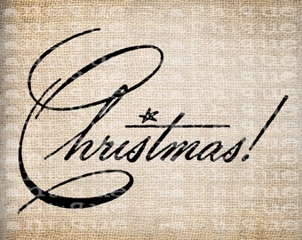 Antique Ornate Retro Christmas Digital Download for Papercrafts, Transfer, Pillows, etc Burlap No. 3897