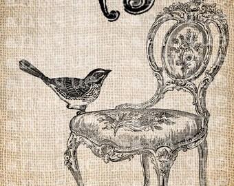 Antique French Paris Bird Chair Ornate Digital Download for Tea Towels, Papercrafts, Transfer, Pillows, etc Burlap  No 5053
