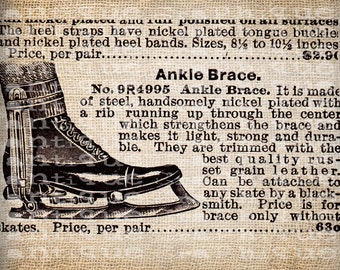 Antique Ornate Ice Skates Winter Christmas Snow Digital Download for Papercrafts, Transfer, Pillows, etc Burlap No. 5147