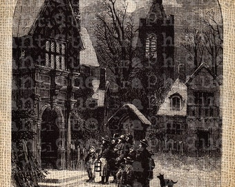 Antique Ornate Christmas Victorian Carolers Village Digital Download for Papercrafts, Transfer, Pillows, etc Burlap No. 5171
