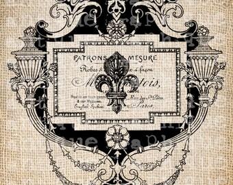 Antique France French Paris Fleur de Lis Illustration Digital Download for Tea Towels, Papercrafts, Transfer, Pillows, etc Burlap No 5377