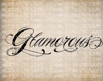 Antique Glamorous Word Flourish Fancy  Illustration Digital Download for Papercrafts, Tea Towel, Transfer, Pillows, etc Burlap No 5513