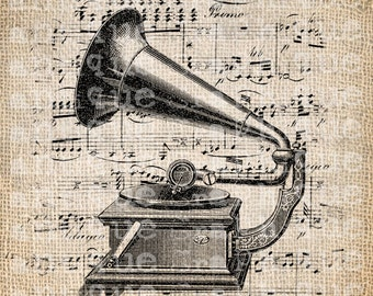 Antique French Music Sheet Phonograph Digital Download for Tea Towels, Papercrafts, Transfer, Pillows, etc Burlap No. 5533