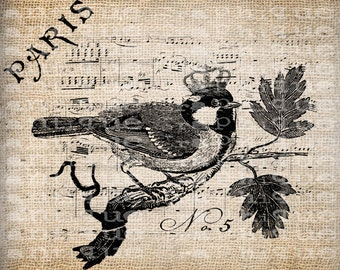 Antique Crown Bird French France Digital Download for Tea Towels, Papercrafts, Transfer, Pillows, etc Burlap No 5821
