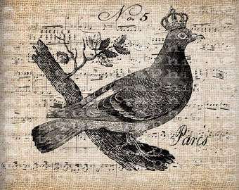 Antique Crown Bird French France Digital Download for Tea Towels, Papercrafts, Transfer, Pillows, etc Burlap No 5847