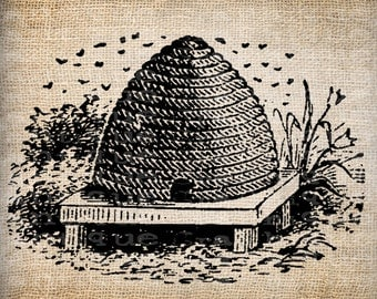 Antique Bee Skep Bee Hive Digital Download for Tea Towels, Papercrafts, Transfer, Pillows, etc Burlap No. 6115