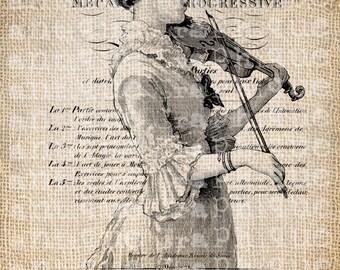 Antique Fancy Paris Violin Girl Music Illustration Digital Download for Tea Towels, Papercrafts, Transfer, Pillows, etc Burlap No 6397