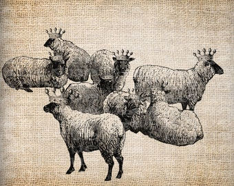 Digital Collage Sheet Download Sheet Fabric Transfer SHEEP WITH CROWN for Tea Towels, Papercrafts, Transfer, Pillows, etc Burlap No 7077